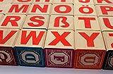 Holzbausteine Deutsch Alphabet, ABC Blöcke 46 mm Embossed wooden blocks