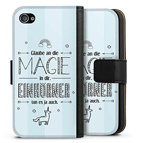 Apple iPhone X Silikon Hülle Case Schutzhülle Einhorn Magie Spruch Sideflip Tasche schwarz