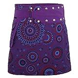 PUREWONDER süßer Wickelrock für Damen, 100% Baumwolle, verstellbare Größe, Rock mit Tasche, Design Nr. 112 Lila