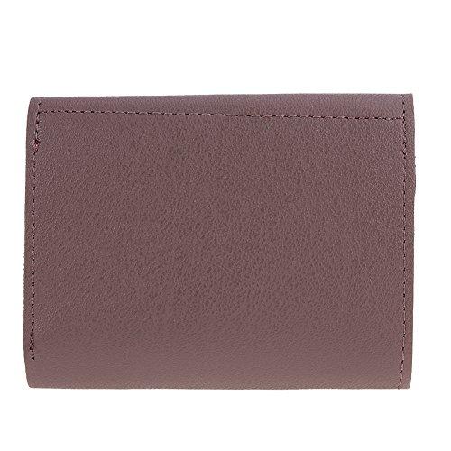 Amazingdeal365 Donne Pu Pelle Breve Portafoglio Flip Round Button Card Pochette Borsa (Nero) Fagiolo Rosso