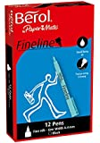 Berol Fineline Pen Fine Nib 0.4mm - Black (Box of 12)