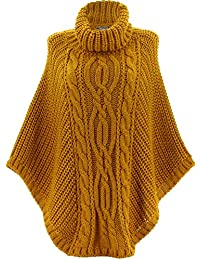 1ab575f23a2bb Charleselie94 - Poncho Pull Laine Grande Taille Hiver bohème Safran ELODY  Jaune
