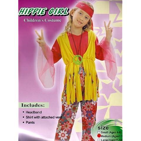 Disfraz de niña Hippy de los años 60 y 70. 6 - 9 años