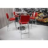 American Diner Bistrogruppe, 4 Barhocker in Kunstleder rot/weiß, 70cm Bistrotisch in weiß mit Chromrahmen