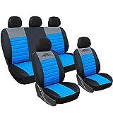 WOLTU AS7318 Set Completo di Coprisedili Auto Macchina Seat Cover Universali Protezione per Sedile di Poliestere Classici Nero-Blu