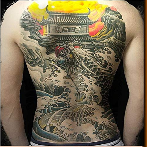 tzxdbh 2pcs Qualitäts-übergroße Brust Tätowierung volle Rücken tätowieren wasserdicht Vogel Phönix Tintenfische großen Drachen Tattoo Farbe 2Pcs- (Make-up Pro Belt)