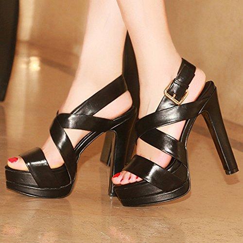TAOFFEN Femmes Elegant Bout Ouvert Sandales Bloc Talons Hauts Plateforme Strappy Chaussures Noir