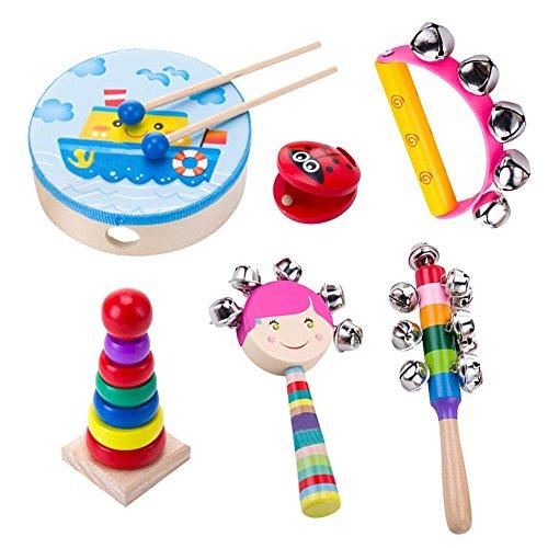 Musikinstrument Spielzeug für Kinder, Holz Percussion Instrument Set Baby Spielzeug Geschenk für Kleinkinder Kinder Vorschule Kinder 6-piece set
