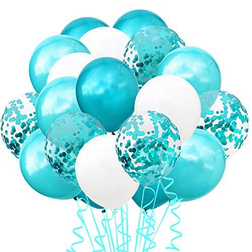 TOPWINRR 60 Stück Helium Party Ballon Hochzeit Deko Luftballons Geburtstag Kinder Latex Konfetti Ballons Dekoration (TF Blau)