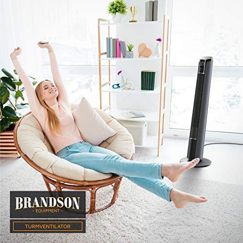 Brandson – Turmventilator mit Fernbedienung 108 cm | Ventilator 10° neigbar | Standventilator mit Oszilation | 65° oszillierend | 3 Geschwindigkeiten 4 Lüftungs-Modi Timer | GS | Cool Grey Bild 6*