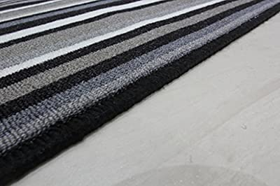 Black and Grey Stripe Affordable Machine Washable Anti Creep Kitchen Mat Luna - 9 sizes available - inexpensive UK light store.