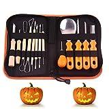 YCMTOOL Kit di strumenti per intagliare la zucca di Halloween, Kit per intaglio di zucca avanzato professionale aggiornato - Coltelli per sculture, tagli, mestoli, raschietti, seghe, passanti, intagliare facilmente Jack-O-Lantern