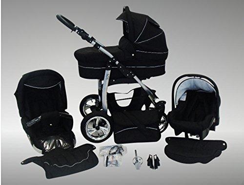 Chilly Kids Dino Kinderwagen Sommer-Set (Sonnenschirm, Autositz & Adapter, Regenschutz, Moskitonetz, Getränkehalter, Schwenkräder) 04 Schwarz & Schwarz