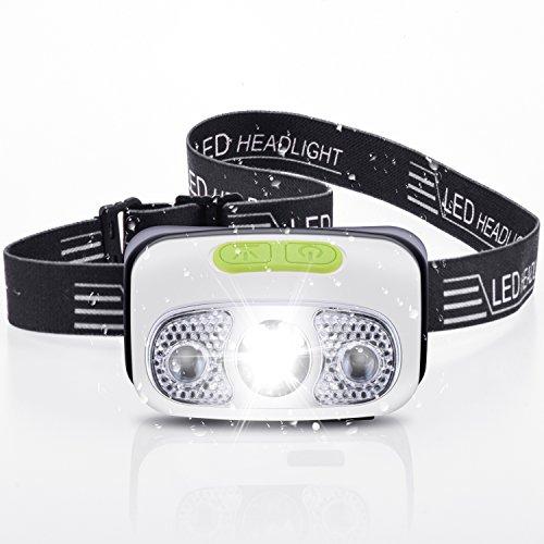 LED Stirnlampe, LEEQin USB Wiederaufladbarer Kopflampe für Laufen, Camping, zum Lesen,Joggen, Fischen, Jagen, Spazierengehen mit Hunde, Wandern und Radfahren, Wasserdicht, Handwellen Aktivierter Sensormodus, 4-Licht-Modus