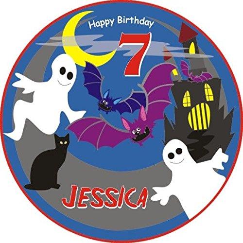 für Ihre Gespensterparty zum Kindergeburtstag, essbarer Tortenaufleger für Mottoparty Gespenster, Geister oder eine Gruselparty zu Halloween +Name +Alter vom Geburtstagskind, mit Tortenbeschriftung: HAPPY BIRTHDAY ()