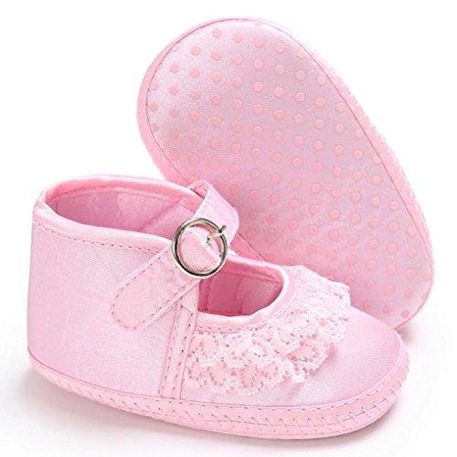 BZLine® Dentelle Mignonne Chaussures à Semelle en Coton, Style Souple pour Bébés Filles 0-18Mois pink