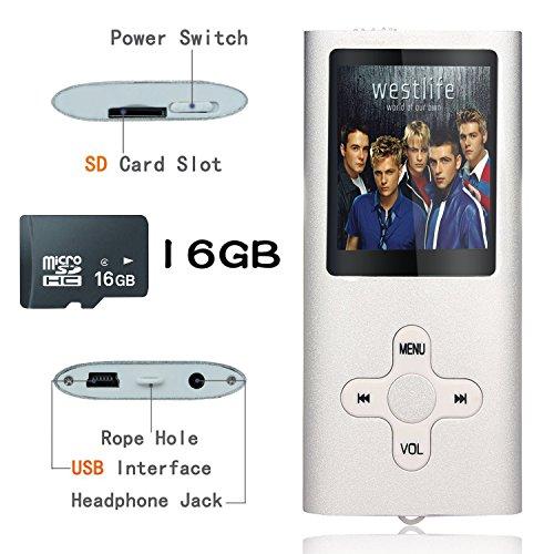 Tabmart Metal Hi-Fi Capacità Di 16GB Lettore MP3 Musicale Portatile Lettore MP4 Ad Alta Risoluzione Con 1,8 Pollici Schermo MP3 Lettore Multifunzione 10 Ore Di Riproduzione Continua, Argento