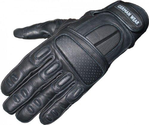 Motorradhandschuhe Motorrad Biker Handschuhe Lederhandschuhe Schwarz, Size:9=L Leder-biker-wear