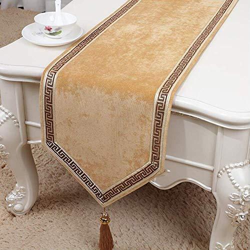 YHEGV Desktop Dekoration einfache tischfahne Bett Logo Multi-Color Multi-Size (Farbe: beige, größe: 33 * 200 cm) - Beige Logo Jacquard