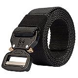 Cintura di sicurezza di combattimento tattico Utility nylon Gear regolabile resistente stile militare apparecchiature a sgancio rapido con fibbia in metallo, Black