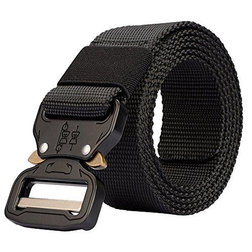 Cinturón ajustable de seguridad, muy resistente, de 3,8 cm de ancho, de estilo militar, con hebilla metálica de liberación rápida, unisex, negro