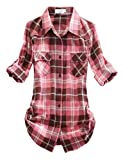 Match Mujer Camisa Tartán Franela #B003(2021 Checks#16,Large)