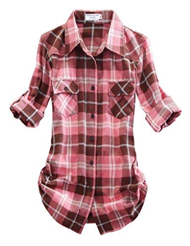 Match Damen Flanell Kariert Shirt #B003(2021 Checks#16,Small(Fit 33''-35'')) (Flanell Karo Hemd)