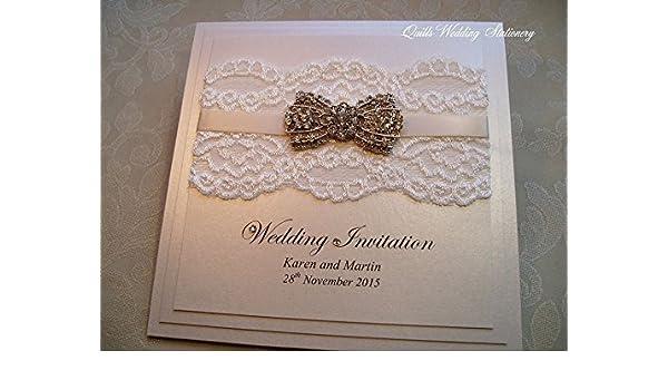 Vintage Style Wedding Invitation with Ivory Lace, Satin Ribbon & Diamanté Bow Brooch. Elegant Pearlised Card Wedding Invitation.: Amazon.co.uk: Handmade