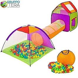 BAKAJI Tenda Igloo per Bambini con 200 Palline + Tunnel + Casetta Tenda da Gioco con Palline per Bam
