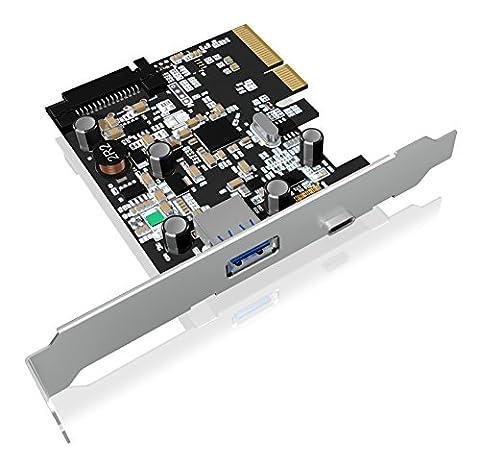 Icy Box IB-U31-03 PCI-Express 2.0 (x2) Erweiterungskarte mit 2x USB 3.1 Anschlüssen (Gen 2 - 1x Type-C, 1x Type-A), 10 Gbit/s, Full & Low Profile