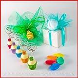 Memoclip/piccoli portafoto in resina colori assortiti a forma di cupcake con numero 18 in tinta e barra portafoto in metallo - Bomboniera per diciottesimo compleanno, aprifesta, segnaposto (kit 48 pz)