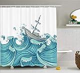 vrupi Rideau douche nautique bateau par vagues géantes tir aquatique vieux bateau mer voyage modèle tissu décoration salle bains microfibre rideau douche salle bains moderne salle bains 71*71 pouces...