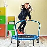 Merax Trampolin, Klappbare Trampoline, Indoortrampolin für Fitnesstraining, Minitrampolin, Kindertrampolin, Max. Benutzergewicht 80kg (Blue)