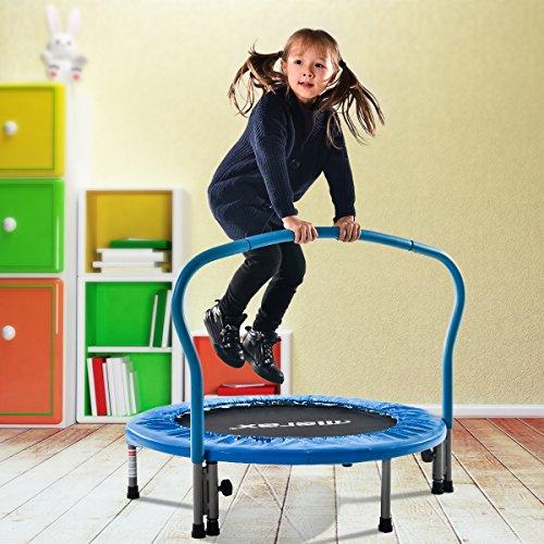 Merax Trampolin Kinder Indoor Fitness Klein Faltbar Klappbare Kindertrampolin TÜV-Geprüft Minitrampolin Indoortrampolin mit Haltegriff für Jumping Fitness bis 80kg(Blau)
