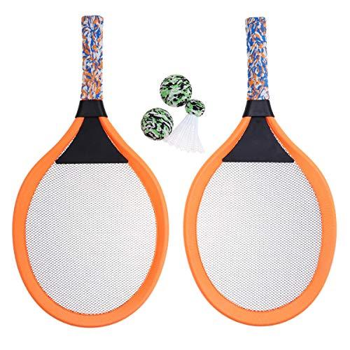 LIOOBO 1 para Kinder Tennisschläger Kinder Palying Badminton Oval Schläger Spiel Requisiten für Kindergarten Grundschule Outdoor Sports (Orange)