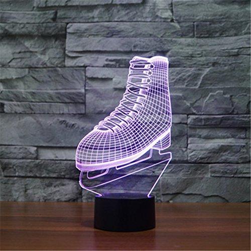 Weihnachten Valentinstag Hochzeit und Geburtstag Geschenke 3D-Tabelle Touch Lampe 7 bunte Farbe ändern Nachtlicht für Kinder und Kinder Schlittschuhe