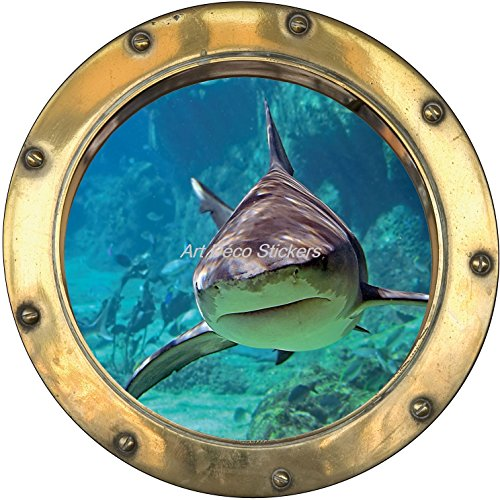 Stickersnews - Sticker hublot trompe l oeil déco Requin H363 Dimensions - 30x30cm