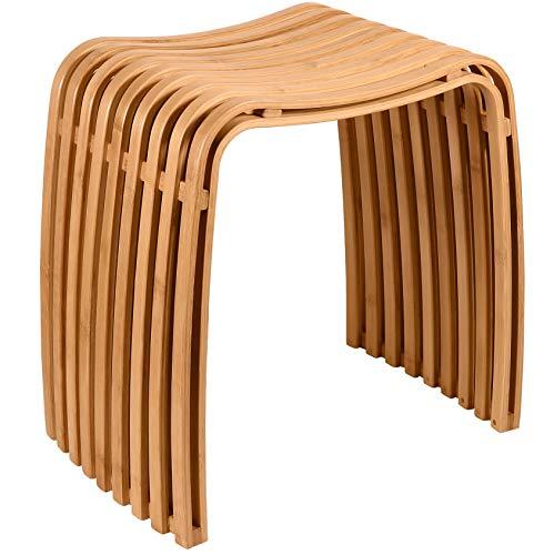 Nicol Bambus-Hocker Badhocker Höhe 45 cm mit Anti-Rutsch-Silikonleiste, Holzhocker für Badezimmer, Garderobe, Küche