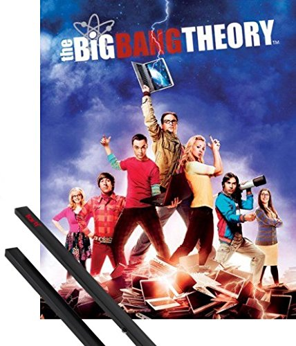 1art1® Poster + Suspension : The Big Bang Theory Mini Poster (50x40 cm) Saison 5, Le Flash Portables Et Kit De Fixation Noir