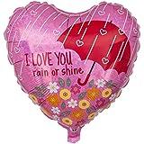 Ballongruesse - Herzballon I love you, Rain or Shine (47cm gasgefüllt im Karton) tolles Geschenk Präsent Überraschung Geschenkidee Geburtstagsgrüße Geburtstagsgeschenk Geburtstagsdekoration Deko oder Dekoration kreativ originell witzig lustig zum Kindergeburtstag Party Fete Feier Fest Jahrestag Ehrentag Jubiläum Ballonfahrt, gasgefüllte schwebende fliegende Ballons Folienballons Luftballons mit Helium Ballongas