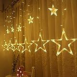 ToWinle Lichterkette Sternen Lichtervorhang Led Vorhang Lichter Sternenvorhang mit Verschiedenen Lichtermodi als Weihnachten oder Party Festen Deko lichterkette (Weißwarm)