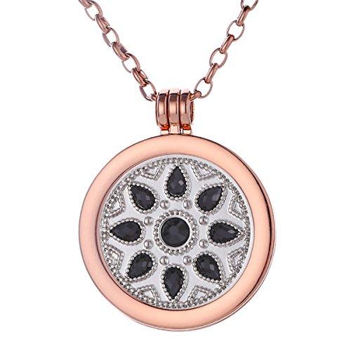Morella Damen Halskette rosegold 70 cm Edelstahl mit Anhänger und Coin 33 mm Blume Ornament in Schmuckbeutel