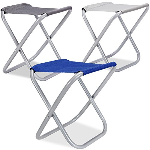 Klapphocker 2er Set Campinghocker Campingstuhl Angelstuhl - 1er / 2er Set - Tragfähigkeit bis zu 100kg - robustes Metallgestänge - 38 x 32 x 29 cm - platzsparend faltbar - grau - Farbwahl