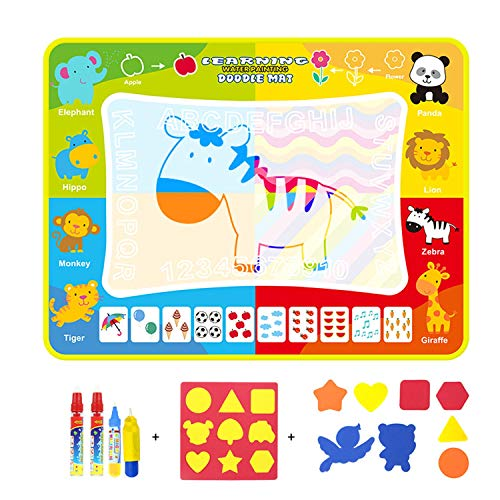 XULONG Kids Water Drawing Mat, Magic Water Doodle Mats Toddlers Painting Board Writing Mats Kids Educational Toys for 2 Year Olds Boys Girls Gifts