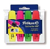 Pelikan 943324 - Textmarker 4er Etui gelb / rosa / orange / grün