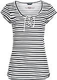 Sublevel Damen Streifen T-Shirt LSL-330 Kurzarm mit Schnürung Dark Blue L