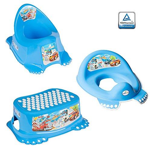 GoFuture 3er Set Toilettentrainer für Kinder – WC-Sitz + Töpfchen + Hocker für Jungen und Mädchen – Alle Teile (Kindertopf, Toilettensitz, Tritthocker) sind zertifiziert und TÜV geprüft Cars Blau