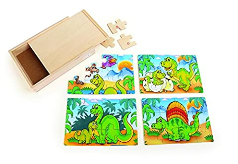 Small Foot 10174 - Puzzle-Box 4 in 1 Dinosaurier