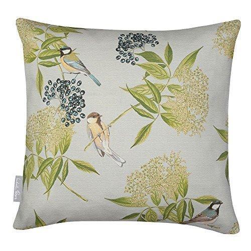 Designer Wasserfest Garten Außen Kissen - Vogel auf Holunderblüten - Entworfener Bedruckt & Handgefertigt in Den UK - grau, Set mit 4 50 x 50cm Kissen