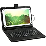 Mobone 7 Inch Leather Keyboard Case Wired USB Tablet Keyboard (Black)
